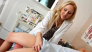 Busty nurse Julia Ann rides her lover's dick reverse cowgirl style