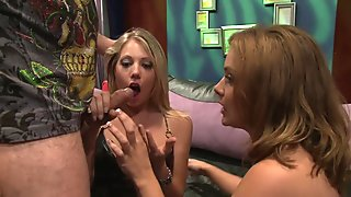Busty Natasha Nice and Shawna Lenee in sexy underwear fuck with the same guy