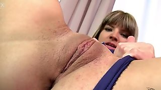Straight haired blondie in heels uses a dildo for polishing her anus