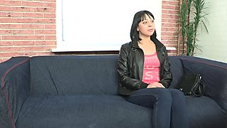 Real casting amateur screwed on the couch