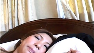 Charming Jap girl with bushy pussy having kinky time on camera