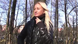 Blonde chick Nikky Dream picked up and fucked hard for cash
