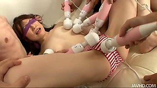 Big gangbang drives Ryo Kaede crazy with plenty of vibrators