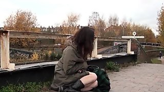 University coed Beauvoirs naughty flashing and public masturbation of geeky
