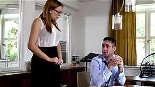 Redhead babe Eva Berger gets her pussy owned by her boss