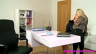 FemaleAgent Beautiful blonde strap on fuck