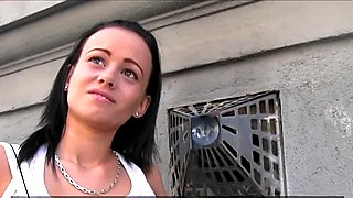 PublicAgent Short brunette with small boobs fucks for a bundle of cash