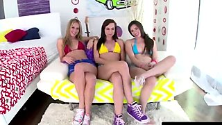 Teen sluts sharing long cock blowjob foursome