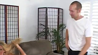 Bosomy blonde housewife deepthroates long prick to his balls