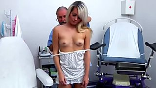 Blonde teen gets naked for a hot doctors exam