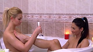 Shaving lesbian pussies in shower