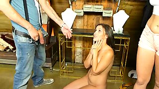 Sexy brunette babe gets deeply pounded for some money