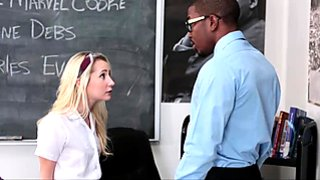 Cute blonde teen slut schoolgirl receives a fat hard BBC