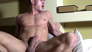 Straight muscle jock riding rock hard cock