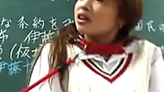 Teacher punishes bad student girl Saya Hyozaki