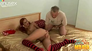 Slim redhead with small tits provides old grey haired dude with blowjob
