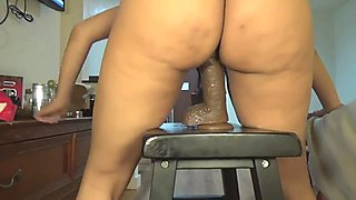 Red rose bouncing that phat ass on a dildo