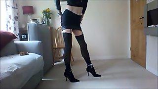 Sexy blonde in short skirt
