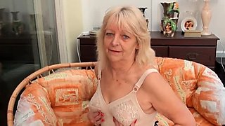 Horny British granny in sexy lingerie Audrey loves to tease