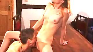 Brother seduced sister and fucked her on table