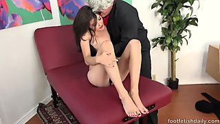 Adria Rae Gives a Footjob and gets a Cumshot