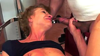 Dumpy grandma gets her stinky asshole polished in mish pose hard