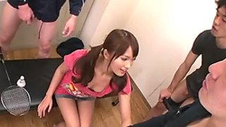 Cute Japanese girl with pigtails Suzu Minamoto gives blowjob