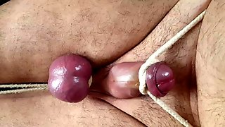Tenderizing my balls with a wooden spoon