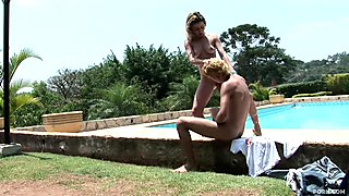 Blowjob and fisting by the pool