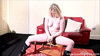 Sexy damsel in distress Amber West in bondage and submissive blonde tied to a table in the living room