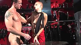 Perverted stud fucks the wet pussy of short haired gal in red skirt