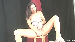 Sitting on a chair and masturbating passionately